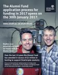 Alumni Fund application process for funding in 2017 opens on 30th January 2017.